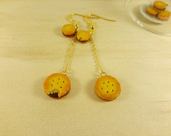Chocolate cookie earrings, Food Jewelry, Biscuit Earrings,Cookie earrings ,Miniature Food, polymer clay earrings, food earrings