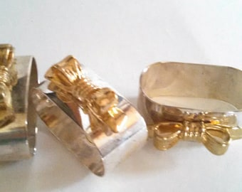 Silver and Gold Tone Napkin Ring Holders Set of 4 Bowtie
