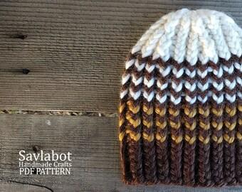 knit hat pattern - beanie pattern - striped beanie - knit beanie - pdf pattern - knit pdf beanie pattern no.016