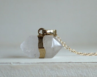 Natural Crystal pendant  necklace in gold