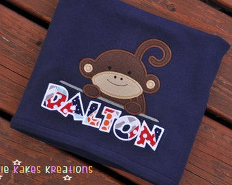 Personalized Baby Blanket with Monkey and Applique Name