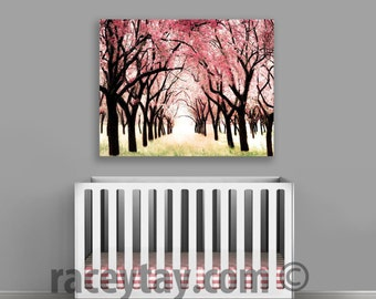 Cherry Blossom Canvas, Large Canvas Art,  Nature Photography, Gift for Her, Pink, Cherry Trees Wall Art Canvas