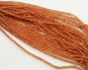 Orange Sapphire Faceted Rondelle Beads, Natural Orange Sapphire Beads, Orange Sapphire Necklace, 2.5-3mm, 4 Inch - AGA36