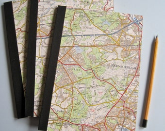 Notebooks from Recycled Vintage Ordnance Survey Maps
