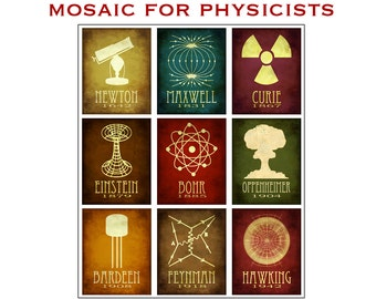 Physics Mosaic 11x14 - Physicist Rock Star Scientists Steampunk Poster - Collection of 9 Scientific Illustrations of Phyciscists
