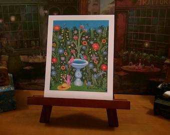 New Orleans Art / Whimsical / Garden Sanctuary / Secret Garden / Birds & Butterfly / Bumblebee / Birdbath / from my Original Painting