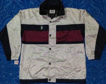 Vintage MIZUNO SUPER STAR Colour Block / Hooded / Full Double Zip Up / Full Button Cover Jacket