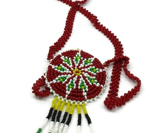 American Indian Beaded Necklace with Fringed Pendant Vintage Souvenir Glass Seed Beads Native American Indian Red White Yellow