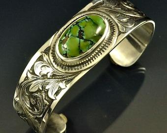 Hand Engraved New Lander Turquoise Sterling Silver Cuff Bracelet
