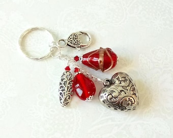 Bijou Sac Coeur argenté, Verre lampwork rouge / Silver Heart & Red glass Keyring bag jewelry