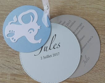 Share birth or christening round customizable - Elephant - small size + envelope