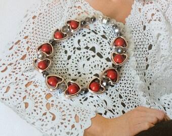 Red coral bracelet Beadwork Coral jewelry Beaded coral bracelet  Fashion bracelet Vegan gift Bridesmaid St.Valentine's Day Birthday gift