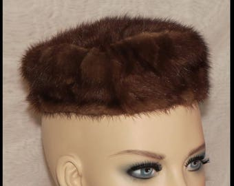 Vintage MINK HAT Genuine Mink PILLBOX Hat Womens Fur Hat