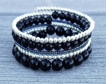 Black and Silver Thick Memory Wire Bracelet / Punk Rock Chic Bracelet