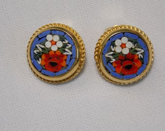 Vintage Micro Mosaic Flower Clip Earrings with Periwinkle Blue Background, Red and White Flowers
