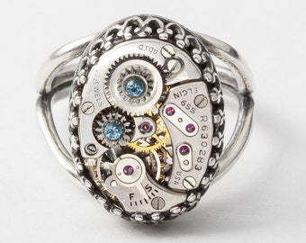 Steampunk Ring With Vintage Elgin Watch Movement And Gears, Blue Aquamarine Crystal Set In Silver Filigree Cocktail Ring, Steampunk Jewelry