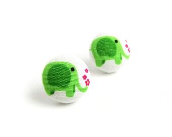 Gift for animal lover - gift for girl - Elephant stud earrings - animal earrings - tiny green button earrings - round emerald earrings