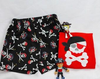 Boys Pirate Shorts with Monogram Shirt - Pirate Hat Monogram - Boys Short set - Pirate Birthday - Pirate Set