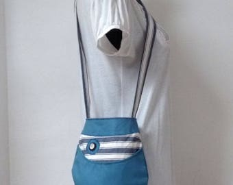fish shaped shoulder bag, blue and white striped cotton
