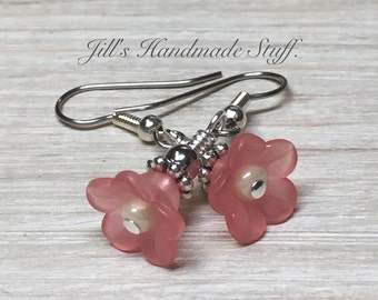 Pink Flower Dangle Earrings- Beaded Ear Jewelry- Surgical Steel Wire Earrings