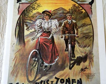 Vintage Bicycle Poster Print 1900s Matador Cycles / Fongers Bicycles  Paris Poster Size Book Plate
