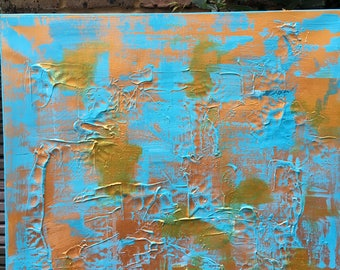Shimmer - Original Abstract Painting in Clay and Blue and Gold Acrylic Paints