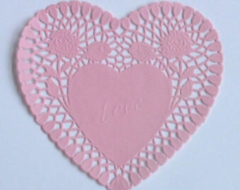 30 Pink Heart shaped paper doilies, 6 inch size, Valentine's Day, Wedding, Party decor
