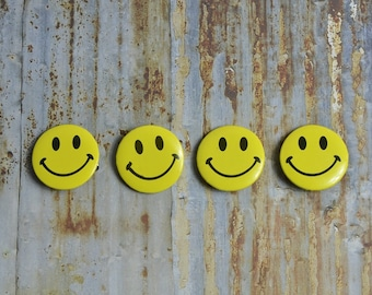 Yellow Smiley Face Happy Party Buttons Pin