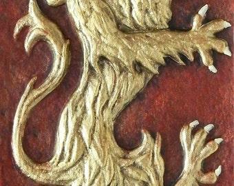 Rampant Lion - Cast Paper - Celtic art - Emblem of Scotland - Scottish Heraldry - wall art - side pieces