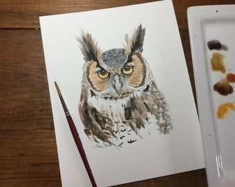 """Great horned owl watercolor print 8.5x11"""""""