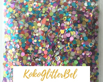 Rainbow Color Glitter Dots Large Glitter Mix Solvent Resistant for Nail Art * 5 grams 10 grams 1 tsp Options