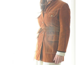Vintage 70's Suede Coat FREE SHIPPING 1970's Spring Jacket by Irving Posluns Size 12/13