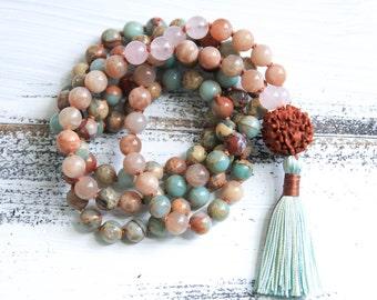 Mala Beads 108, Knotted Mala Necklace, Aqua Terra Jasper African Opal, Sunstone, Tassel Necklace, Yoga Bracelet, Boho Jewelry