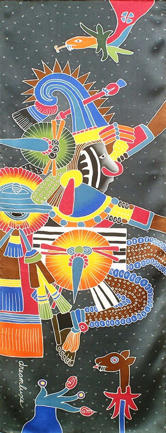 Colorful Aztec warrior silk scarf painted with Gray background