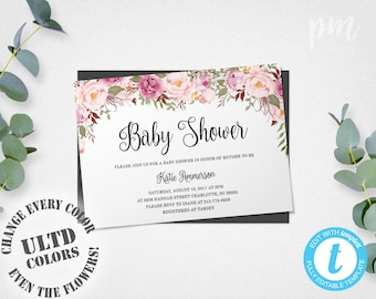 Floral Baby Shower Invitation Template, Floral Baby Shower Templates, Girl Baby  Shower Invites With Flowers, Edit In Our Web App!