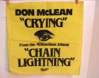 Don Mclean Crying Promotional Hankie Cloth, Vintage LP Promo, Millennium Records Chain Lightning Album 1978
