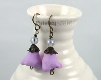 Purple Bellflower earrings, rustic whimsy polymer clay and glass bead dangles on brass wire