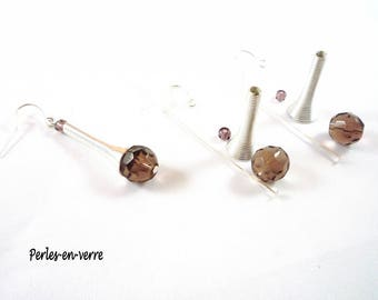 DIY! A kit Earrings silver and Plum (kit22) glass beads