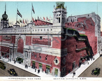 Vintage Postcard of Hippodrome, New York, circulated 1918, with French stamp