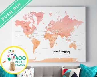 Push pin world map canvas ready to hang 240 pins 198 personalized push pin world map canvas watercolor pink orange ready to hang 240 pins gumiabroncs Gallery