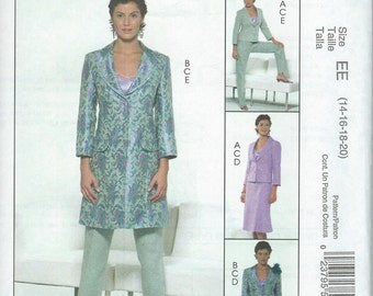 McCall's UNCUT sewing pattern M5062 / Women's Lined Jacket in 2 lengths, Top, Skirt, and Pants / Sizes 14, 16, 18 and 20