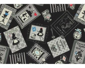 Alice in Wonderland - Alice in Frames L40687-100 Black, Japanese Cotton Linen Girl's Story by Lecien of Japan, half yard