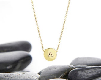 Sliding Initial Charm Necklace in Brass and Gold Fill