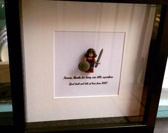 Work colleague gift, leaving gift for work friend. Wonder Woman superhero shadow box art frame. Superhero best friend gift