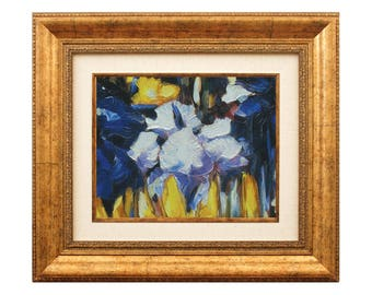Irises Flowers, Irises Decor, Oil Painting, Abstract Art, Framed Paining, Flowers Painting, Textured