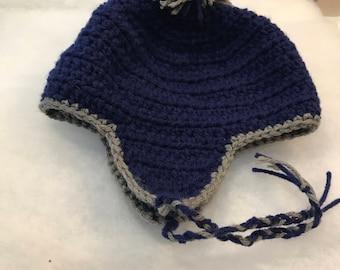 Crochet toddler ear flap hat
