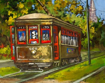 New Orleans Art, St. Charles Streetcar, New Orleans Streetcar, St. Charles Avenue, New Orleans Art GICLÉE Canvas or Print FREE SHIPPING