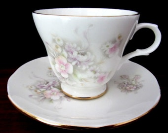 Crown Trent Fine Bone China Floral Tea Cup And Saucer Set. From Staffordshire England