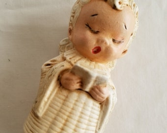 Vintage Little Angel Clay Candlestick, Molded, Signed Millie, Holding Songbook, Choir