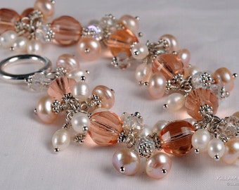 Peach Bracelet, Czech Glass, Freshwater Pearl, Dangle Bracelet, Sterling Silver, Cha Cha Bracelet